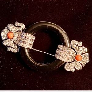 Art Deco Estate Style Brooch  Crystal & Coral